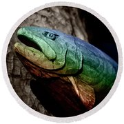 Round Beach Towel featuring the photograph Rainbow Trout Wood Sculpture Square by John Stephens