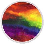 Rainbow Veins Round Beach Towel