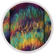 Rainbow Vibrancy. Triptych Round Beach Towel