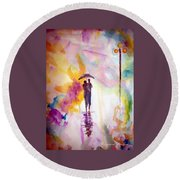Round Beach Towel featuring the painting Rainbow Walk Of Love by Raymond Doward