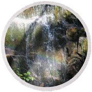 Rainbow Waterfall Round Beach Towel