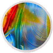 Rainbow Waterfalls Round Beach Towel