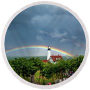 Rainbow X 2 At Portland Headlight Round Beach Towel