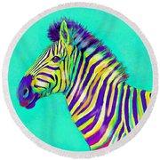 Rainbow Zebra 2013 Round Beach Towel by Jane Schnetlage