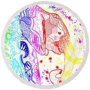 Rainbow Zentangle Elephant Round Beach Towel