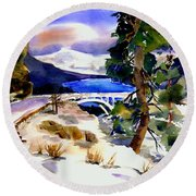 Rainbowbridge Above Donner Lake Round Beach Towel