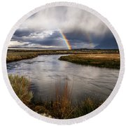 Rainbows At The Upper Owens Round Beach Towel