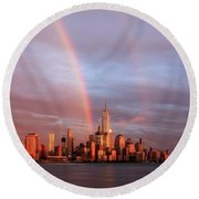 Rainbows In Nyc Round Beach Towel