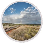 Rainbows Over Ghan Tracks Round Beach Towel