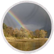 Round Beach Towel featuring the photograph Rainbows Over Loch Leven by Phil Banks