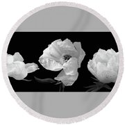 Raindrops On Peonies Black And White Panoramic Round Beach Towel by Gill Billington