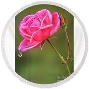 Raindrops On Roses Round Beach Towel