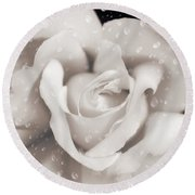Round Beach Towel featuring the photograph Raindrops On Sepia Rose Flower by Jennie Marie Schell