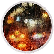 Raindrops On Street Window Round Beach Towel