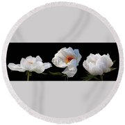 Raindrops On White Peonies Panoramic Round Beach Towel by Gill Billington