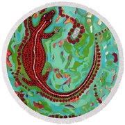 Round Beach Towel featuring the painting Rainforest Skink by Cliff Madsen