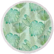 Rainforest Tropical - Elephant Ear And Fan Palm Leaves Repeat Pattern Round Beach Towel by Audrey Jeanne Roberts