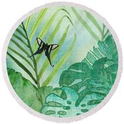 Rainforest Tropical - Philodendron Elephant Ear And Palm Leaves W Botanical Butterfly Round Beach Towel