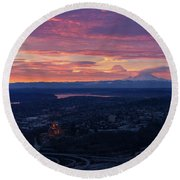 Rainier And Seattle Sunrise Cloudscape Round Beach Towel by Mike Reid