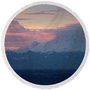 Rainier Lenticular Clouds Sunrise Round Beach Towel by Mike Reid