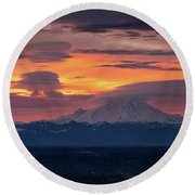 Rainier Sunrise Lenticular Cloudscape Round Beach Towel by Mike Reid