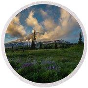 Rainier Wildflowers Meadows Golden Sunset Clouds Round Beach Towel by Mike Reid