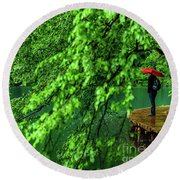 Raining Serenity - Plitvice Lakes National Park, Croatia Round Beach Towel