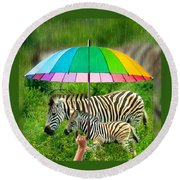 Raining Zebras Round Beach Towel