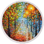 Round Beach Towel featuring the painting Rainy Autumn Evening In The Park Acrylic Palette Knife Painting by Georgeta Blanaru