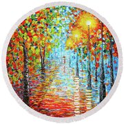 Round Beach Towel featuring the painting Rainy Autumn Evening In The Park Acylic Palette Knife Painting by Georgeta Blanaru