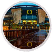 Rainy Autzen Stadium Round Beach Towel