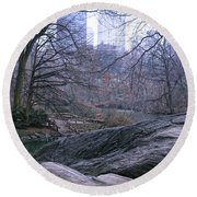 Round Beach Towel featuring the photograph Rainy Day In Central Park by Sandy Moulder