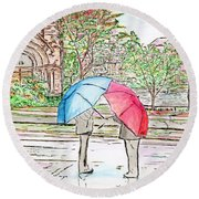 Rainy Day In Downtown Worcester, Ma Round Beach Towel