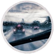 Rainy Day In July Round Beach Towel