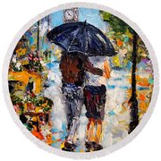Rainy Day In Olde London Town Round Beach Towel