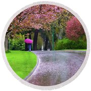 Rainy Day In The Park Round Beach Towel