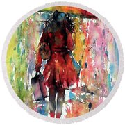 Round Beach Towel featuring the painting Rainy Day by Kovacs Anna Brigitta