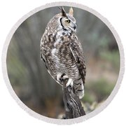 Rainy Day Owl Round Beach Towel