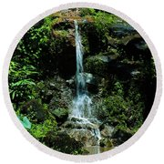 Round Beach Towel featuring the photograph Rainy Day Runoff Nuuanu by Craig Wood