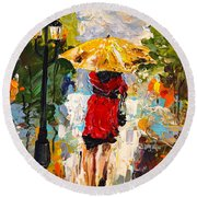 Round Beach Towel featuring the painting Rainy Days by Alan Lakin