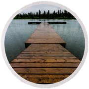 Round Beach Towel featuring the photograph Rainy Dock by Darcy Michaelchuk