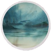 Round Beach Towel featuring the painting Rainy Inlet by Jani Freimann