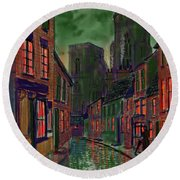 Rainy Night In Kirkgate Round Beach Towel