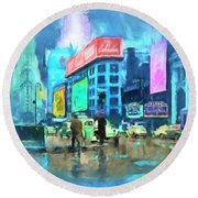 Rainy Night In New York Round Beach Towel