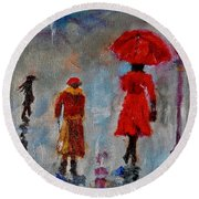 Round Beach Towel featuring the painting Rainy Spring Day by Sher Nasser
