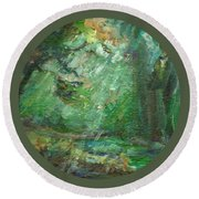 Round Beach Towel featuring the painting Rainy Woods by Mary Wolf