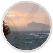 Rainy Xmas Sunrise Round Beach Towel