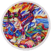 Raised Sea Bed Cat And Horse Round Beach Towel