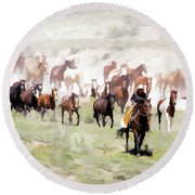Raising Dust On The Great American Horse Drive In Maybell Colorado Round Beach Towel
