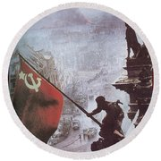 Raising The Soviet Flag  On The Reichstag Building Berlin Germany May 1945 Round Beach Towel